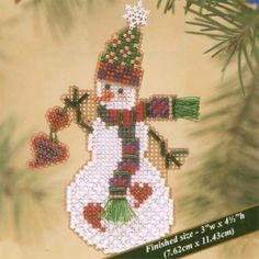 Kit includes Mill Hill Glass Beads, Mill Hill Perforated Paper, floss, needles, and instructions. Santa Cross Stitch, Beaded Cross Stitch, Counted Cross Stitch Kits, Cross Stitch Patterns, Sewn Christmas Ornaments, Christmas Cross, Xmas, Mill Hill Beads, Beaded Crafts