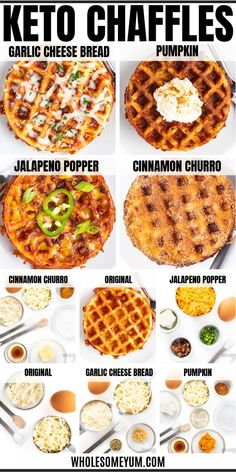Keto Chaffles Recipe (5 Ways!) + Ultimate Guide - All the secrets of how to make CHAFFLES perfectly! Includes the best basic keto chaffles recipe, sweet chaffles (cinnamon churro + pumpkin), savory chaffles (jalapeno popper + garlic parmesan), tips, tricks, and substitutions. #wholesomeyum #lowcarb #keto #chaffles #breakfast #dinner #healthyrecipes #lowcarbrecipes #ketorecipes