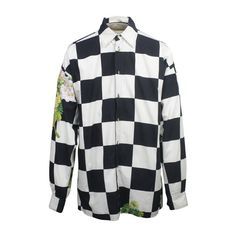 1990s Versace Jeans Couture Men's Checkerboard Print Shirt | From a collection of rare vintage shirts at https://www.1stdibs.com/fashion/clothing/shirts/