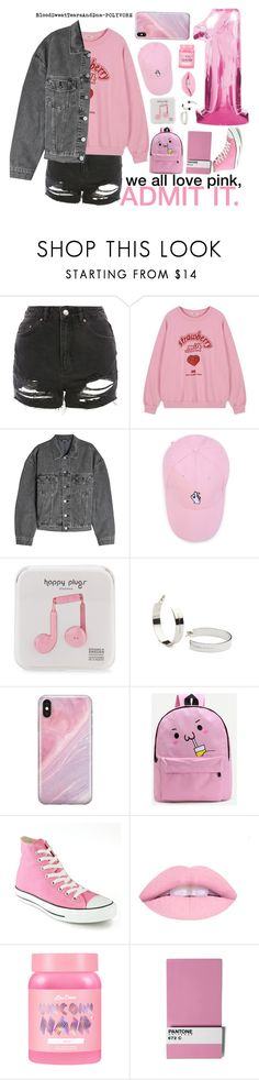 """""""we all love pink, ADMIT IT."""" by bloodsweattearsanddna ❤ liked on Polyvore featuring Topshop, Yeezy by Kanye West, Happy Plugs, Isabel Lennse, Recover, WithChic, Converse, Lime Crime and Seletti"""