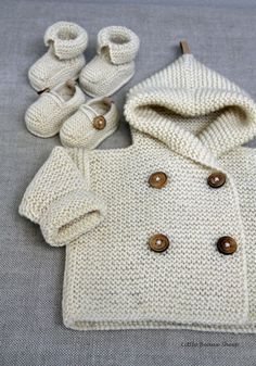 Hand knitted Handmade Baby Wool Sweater Coat door LittleBeauxSheep