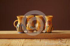 Background with wooden jugs with romanian pattern Sugar Bowl, Bowl Set, Mugs, Tableware, Pattern, Dinnerware, Tumblers, Tablewares, Patterns