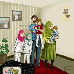 Cute Cartoon Pictures, Bff Pictures, Cartoon Pics, Girl Cartoon, Cute Muslim Couples, Muslim Girls, Cute Couples, Girl Hair Drawing, Cute Baby Couple