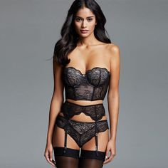 276479e2bf Black Delicate Lace 3 Pieces Bra Set Big Size Woman Strapless Crop Tops  with Garter and