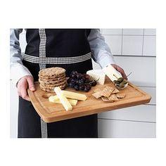 IKEA - PROPPMÄTT, Skærebræt, Kød- og frugtsaft opsamles i skærebrættets udfræsede rille, så det ikke løber ud på køkkenbordet.Fremstillet af massivt træ, der er et holdbart naturmateriale, som skåner dine knive.Vægten gør underlaget stabilt at skære på.