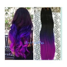 Black to purple to grape purple three Colors Ombre hair extension,... ($11) ❤ liked on Polyvore featuring beauty products, haircare, hair styling tools, hair, hair styles and hairstyles