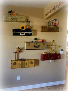 suitcase shelves    What a neat idea!