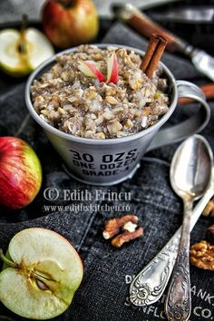 Chia pudding with apple, cinnamon and walnuts