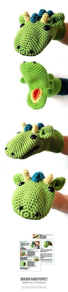 Crochet Toys For Boys Dragon Hand Puppet Crochet Pattern Crochet Amigurumi, Amigurumi Patterns, Crochet Dolls, Crochet Yarn, Knitting Patterns, Crochet Patterns, Kids Knitting, Doll Patterns, Crochet Ideas