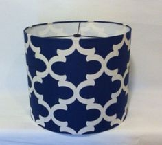 """Cyber Monday Sale Drum Lamp Shade large 14"""" x 12"""" / drum lampshade in Gorgeous Cobalt Blue and Ivory geometric pattern - In Stock, Fast Shipping"""