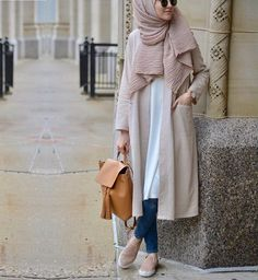 Neutral tones | fall look | oversized white shirt dress | hijab | elif dogan
