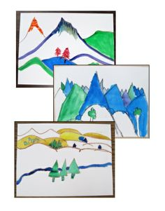 Wax Resist Landscape - geography-related art lesson using line, shape, color, and negative space