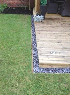 Add a new dimension to your decking with rock or pebbled edging. A border like this offers a clean line to separate your decking from your lawn as well as giving a floating effect to your deck.