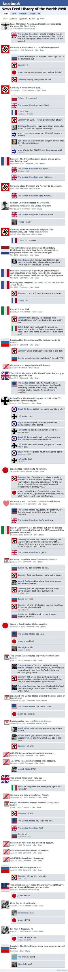 World War II: Facebook version  This shit is pretty funny if you actually know yer history..