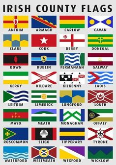 ---Irlanda senyeres per comtats--- --Flags of the Counties of Ireland redesign [OC] County Flags, Irish Language, Irish Culture, Irish Pride, Celtic Pride, Irish Quotes, Irish Blessing, Irish Celtic, Irish Eyes