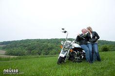 engagement pictures with prop, Lehigh Valley Wedding Photographer, harley davidson. Portrait session with motorcycle. Couple portrait. Couple kissing. Summer outdoor photo session.