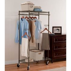 would be GREAT for a mud room organizer  Better Homes and Gardens Double Hanging Garment Rack, Bronze