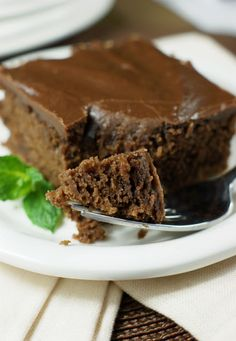 Classic Hershey's chocolate syrup cake, topped with rich boiled chocolate icing