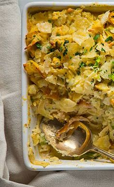 Smoked trout and celery root puree take this casserole beyond tuna.