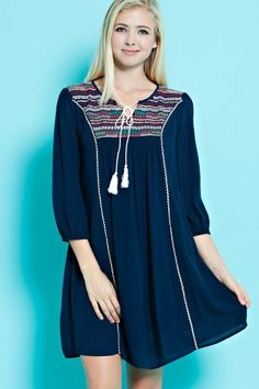 Anika Burke - Navy Tunic Dress with Embroidery On Yoke, $79.95 (http://www.anikaburke.com/navy-tunic-dress-with-embroidery-on-yoke/)