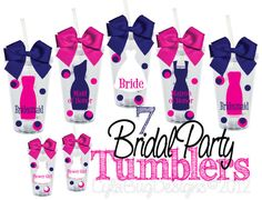 Set of 7 Bridal Party Gifts Personalized 16oz  by LylaBugDesigns, $94.50