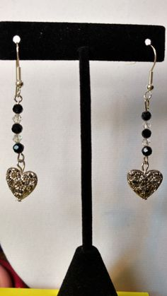Dangling Silver Heart Earrings with Black & Clear Sworovski Crystals, Holiday gift idea,gift for her,Teen girls,Accessories,Costume,Women's by TheAndromedaGallery on Etsy