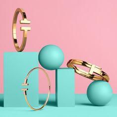 Tiffany T square bracelet, wire bracelet and hinged wrap bracelet in 18k gold.