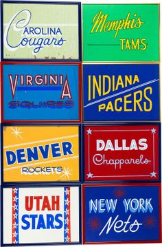 Basketball Collectibles:Others, 1970's ABA Team Signs from Kentucky Colonels Visitor Locker Room