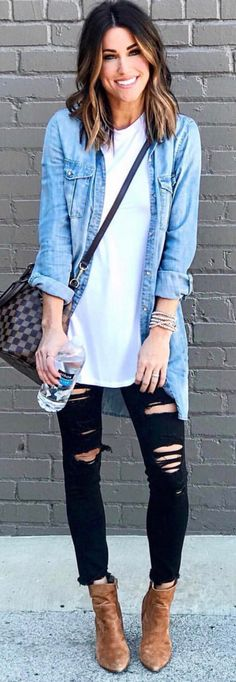 Stunning Winter Outfits To Copy ASAP – Stylish Wife – Outfit Ideas Stunning Winter Outfits To Copy ASAP men's blue denim jacket Looks Camisa Jeans, Looks Jeans, Looks Street Style, Looks Style, My Style, French Style, Preppy Style, Fashion Mode, Look Fashion