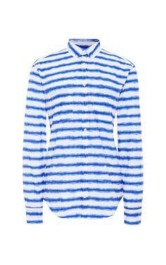 Striped Tie-Dye Cotton Shirt by MSGM - Moda Operandi