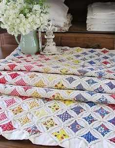"""Vintage Cathedral Window QUILT Table Runner 73 x 26"""" Farmhouse Table"""