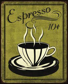 Retro Coffee II Posters por N. Harbick na AllPosters.com.br