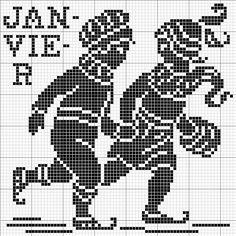 Month 01 | Free chart for cross-stitch, filet crochet | gancedo.eu