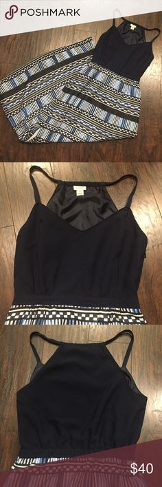 """Jcrew Maxi Dress Only worn once. Perfect like new condition. Side zipper and one side slit that goes to the knee. Fully lined. Waist 13"""" across. Absolutely love the pattern on the bottom of the dress! Top is navy not black. Happy to answer questions. Bundle to save!! J. Crew Dresses Maxi"""