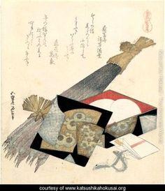 Surimono Anba Umafubuki. Cheval D'Arcons Et Bardane - Katsushika Hokusai - www.katsushikahokusai.org