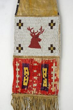 Plains Indian beaded pipe Bag beaded with quill work