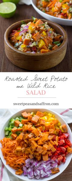 Roasted sweet potatoes, carrots, peppers, celery, onions and wild rice are tossed in a chili-lime vinaigrette. - sub maple syrup for honey and add beans Wild Rice Salad, Brown Rice Salad, Whole Food Recipes, Cooking Recipes, Salad With Sweet Potato, Potato Salad, Clean Eating, Healthy Eating, Lime Vinaigrette