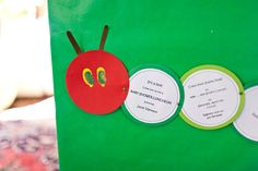 Eric Carle hungry caterpillar baby shower invitation of circles strung together