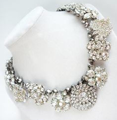 Beyond Bold Statement Necklace Vintage Rhinestone Jewelry, Repurposed from Prettied: Handmade Repurposed Vintage Jewelry and Accessories