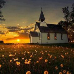 Country church at sunset.