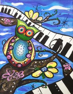 Original Acrylic Painting Whimsical Owl Music by TheMuddyViolet, $19.00
