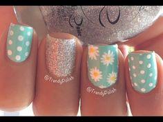 Cute Daisy Nail Art | Short Nails - YouTube