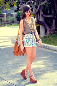 suede fringe bag, floral denim, wedges, aviators