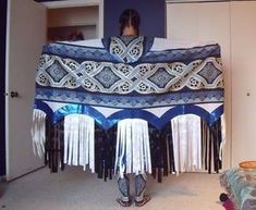 Up for bid is a fancy shawl dance outfit. The outfit includes a shawl, cape, leggings, and dress. The moccasins being worn in the picture are not included in the auction. The colors are dark blue, lig Native American Patterns, Native American Regalia, Native American Clothing, Native American Design, Native American Beadwork, Native American Fashion, Native Fashion, American Jewelry, American Art
