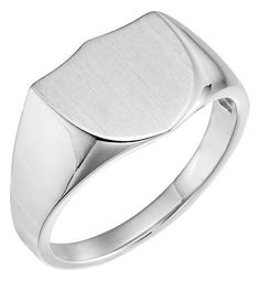 A solid sterling silver shield design signet ring for men, from Apples of Gold Jewelry. The ring can be engraved with 1 letter or choose from a circle monogram. Silver Man, Silver Rings, The Ring Face, Shield Design, Engagement Sets, Circle Monogram, Three Stone Rings, Signet Ring, Or Rose