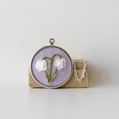 Lily of the Valley Necklace May birthday silk ribbon embroidery by bstudio on Etsy.