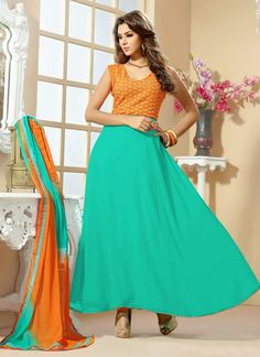 #Turquoise #georgette ankle length anarkali suit