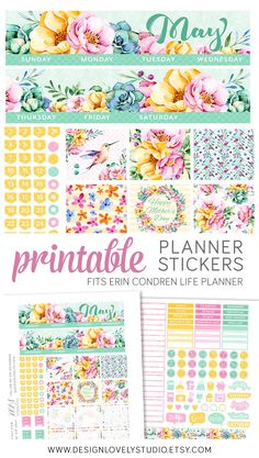 May Monthly Planner Kit, May Planner Stickers for Erin Condren, ECLP May Stickers, Monthly Printable Stickers, Floral Spring Planner - Design Lovely Studio #erincondren #plannerstickers #erincondrenplanner #elcp #erincondrenstickers