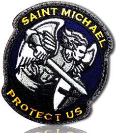 Custom Made Inches] 1 of Hook and Loop Fastener Patch w/ Full Color Saint Michael Protect Guardian Angel Warrior [Blue, Yellow, White] Hook And Loop Tape, Hook And Loop Fastener, Sew On Patches, Iron On Patches, Saint Michael, Angel Warrior, Tactical Bag, Holiday Tree, Dog Harness
