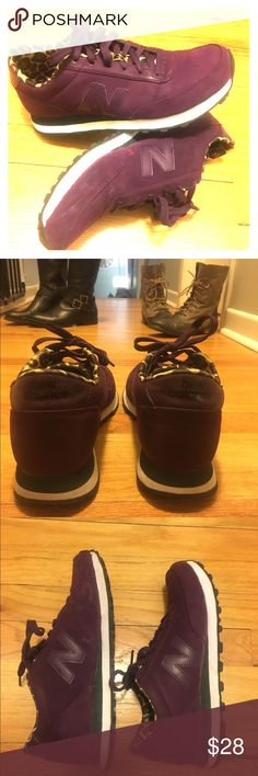 New Balance 501 Deep purple with hints of leopard on the tongue and ankle edging.  Classic NB comfort with edgy style! EUC need a home for someone to love, I have too many sneaks to let these beauties just sit in my closet! True to size New Balance Shoes Sneakers